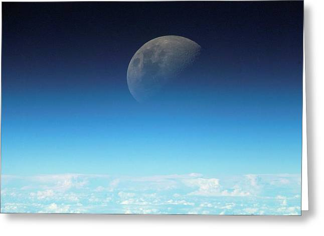 Gibbous Moon And Airglow Greeting Card by Nasa