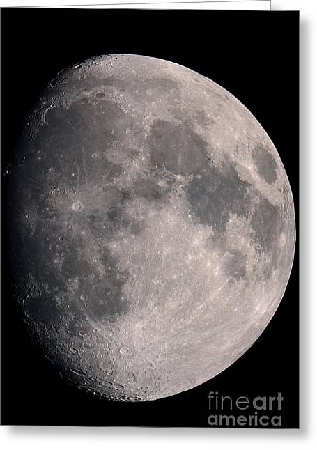 Gibbous Moon And Lunar Landscape, 2013 Greeting Card by John Chumack