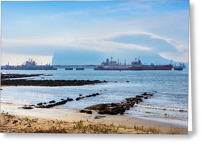 Gibraltar Covered By Levanter Cloud Greeting Card by Ken Welsh