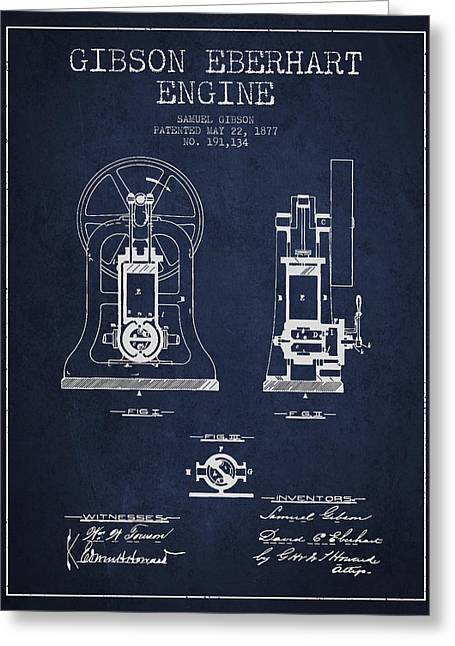 Gibson Eberhart Engine Patent Drawing From 1877- Navy Blue Greeting Card
