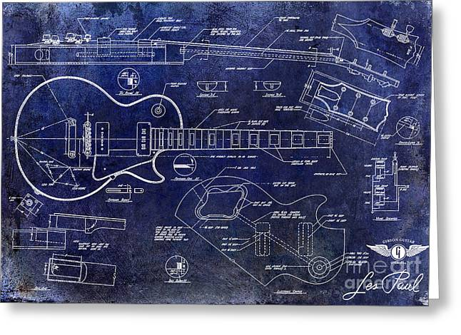 Gibson Les Paul Blueprint Greeting Card