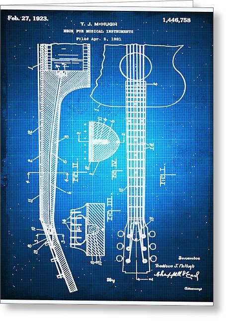 Gibson Thaddeus J Mchugh Guitar Patent Blueprint Drawing Greeting Card