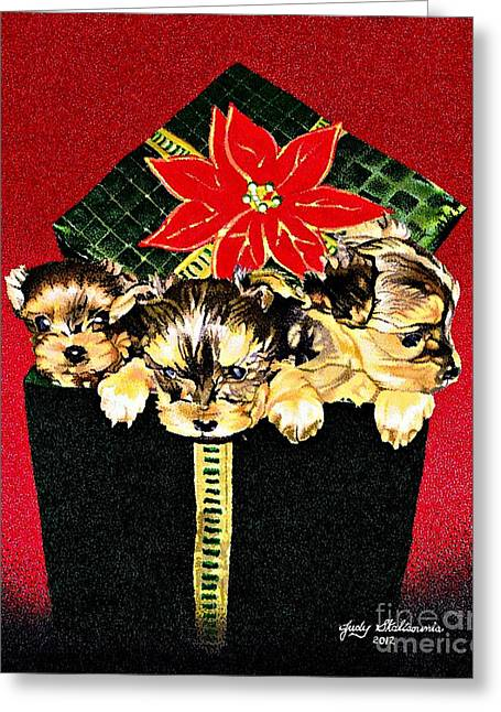 Gift Puppies Greeting Card by Judy Skaltsounis