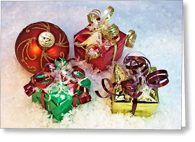 Gifts And Christmas Ball Greeting Card