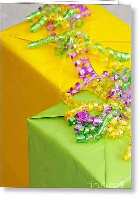 Gifts With Ribbon Greeting Card by Amy Cicconi