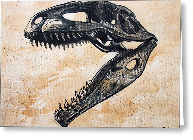 Giganotosaurus Skull Greeting Card by Harm  Plat