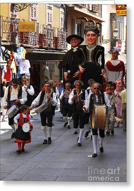Gigantes And Musicians At Segovia Week Festival Greeting Card by James Brunker