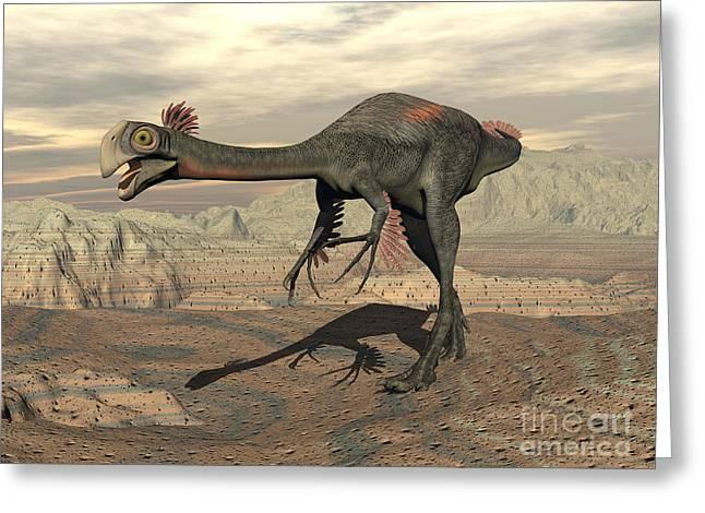 Gigantoraptor Dinosaur Walking Greeting Card