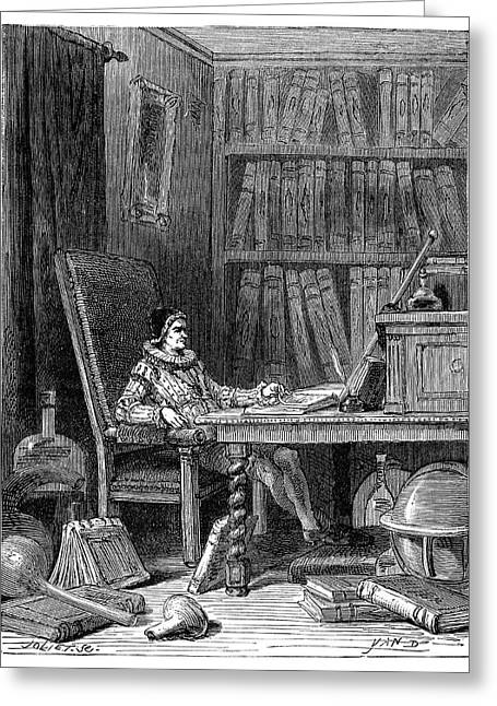 Gilbert Writing On Magnetism In 1575 Greeting Card by Science Photo Library