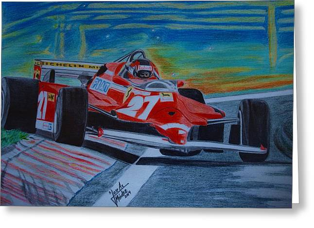 Gilles Villeneuve Greeting Card by Jose Mendez