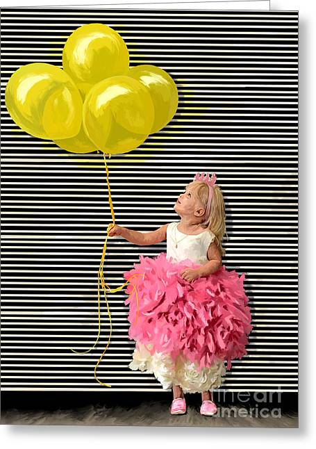 Gillian With Yellow Balloons Greeting Card