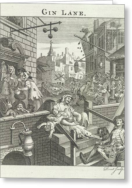Gin Lane Greeting Card by British Library