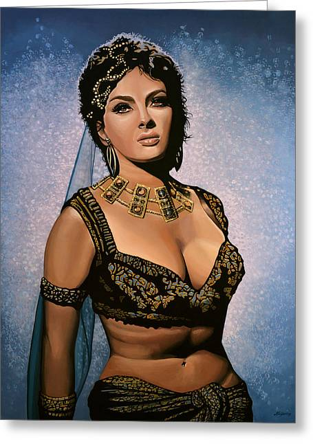 Gina Lollobrigida Painting Greeting Card by Paul Meijering