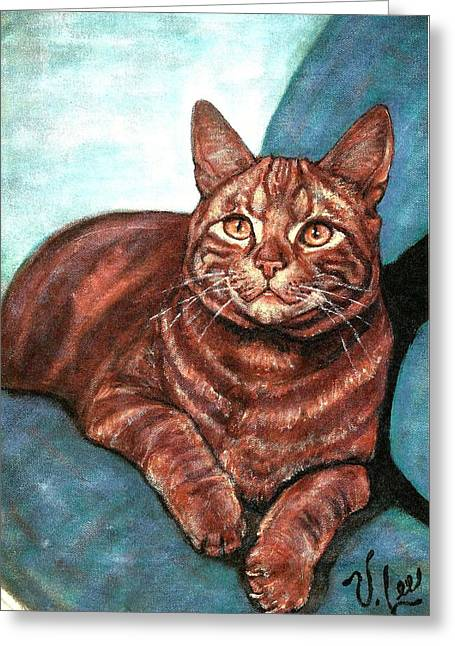 Greeting Card featuring the painting Ginger Tabby by VLee Watson