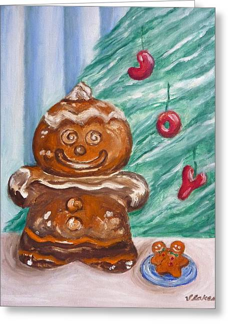 Gingerbread Cookies Greeting Card by Victoria Lakes