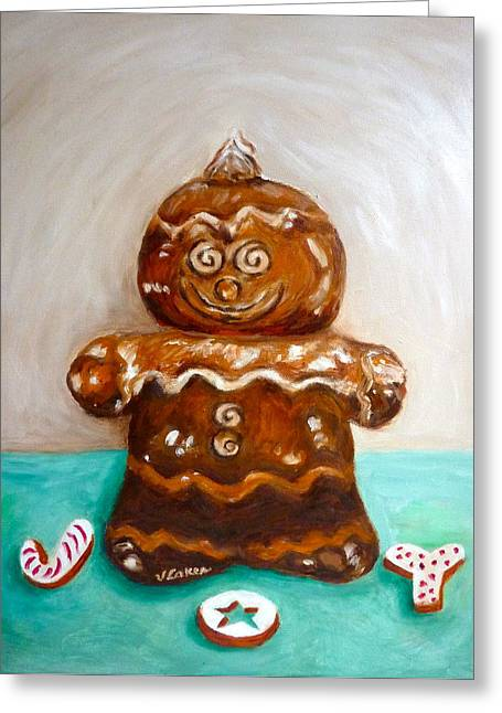 Gingerbread Joy Greeting Card by Victoria Lakes