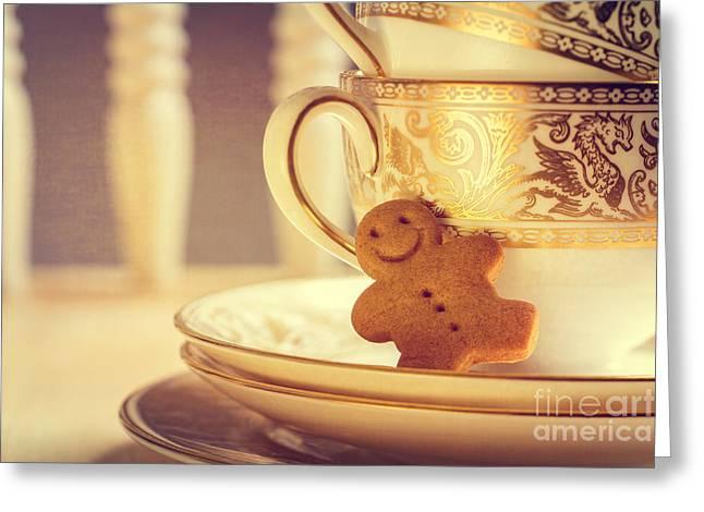 Gingerbread Man Greeting Card by Amanda Elwell