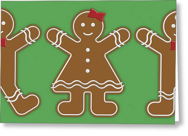 Gingerbread People Greeting Card by Colette Scharf