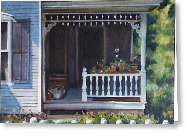Gingerbread Porch Warren Vermont Greeting Card by Pat Percy