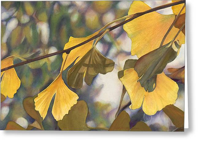 Ginkgo Gold Greeting Card by Sandy  Haight