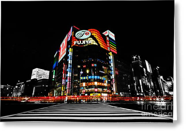 Ginza At Night Greeting Card by Julian Cook