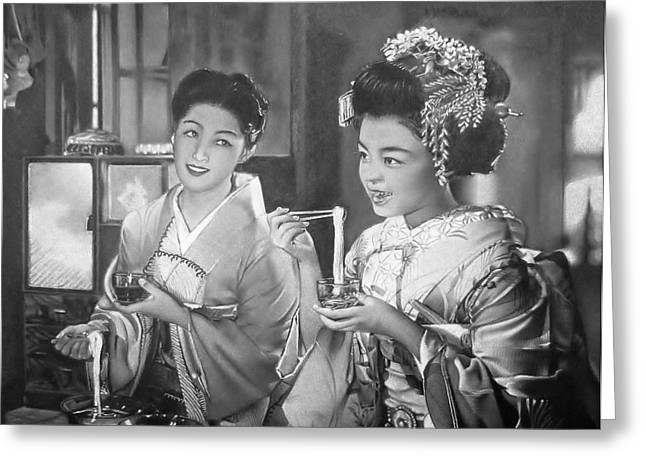 Gion Bayashi Kyoto Greeting Card by Eric Pouillet