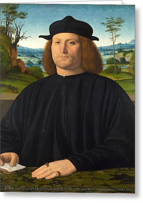 Giovanni Cristoforo Longoni Greeting Card by Andrea Solario