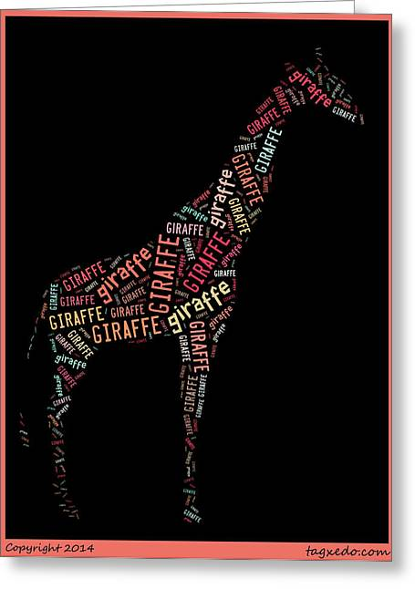 Giraffe Wall Art Greeting Card by Linda Brown