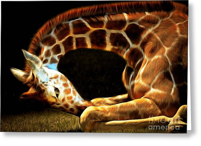 Giraffe 20150211brun Greeting Card by Wingsdomain Art and Photography