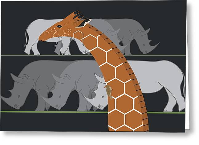 Giraffe And Rhinos Greeting Card