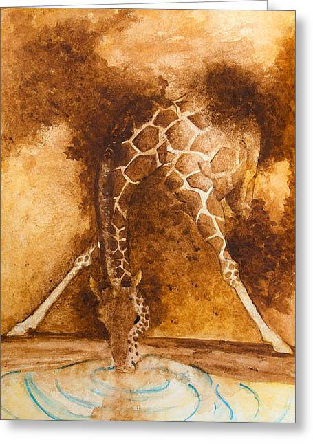 Giraffe Drinking Greeting Card by Kim Lagerhem