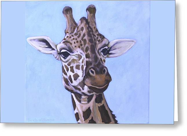 Giraffe Eye To Eye Greeting Card