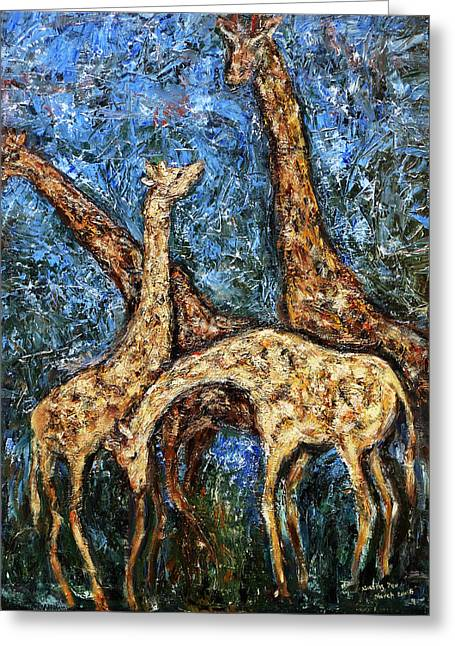 Greeting Card featuring the painting Giraffe Family by Xueling Zou