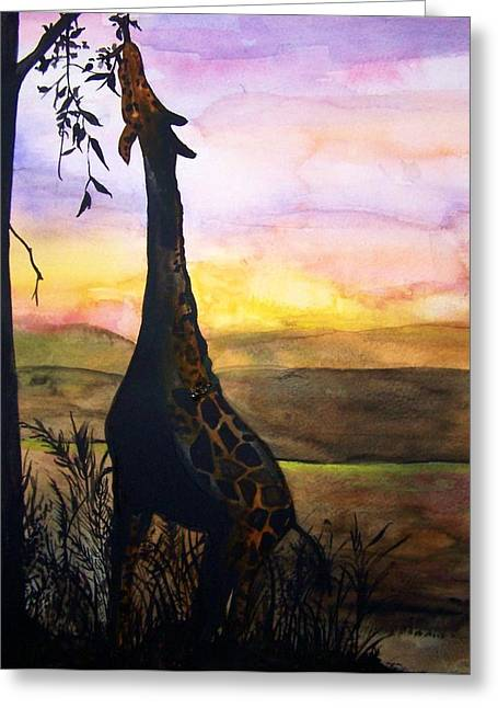 Giraffe Greeting Card by Laneea Tolley