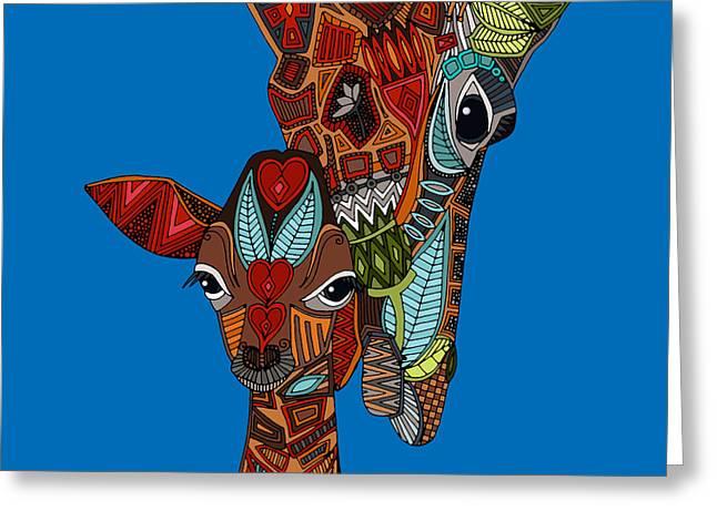 Giraffe Love Blue Greeting Card by Sharon Turner