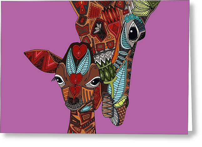 Giraffe Love Orchid Greeting Card by Sharon Turner