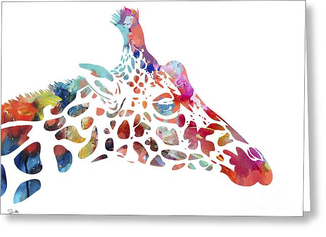 Giraffe Greeting Card by Watercolor Girl