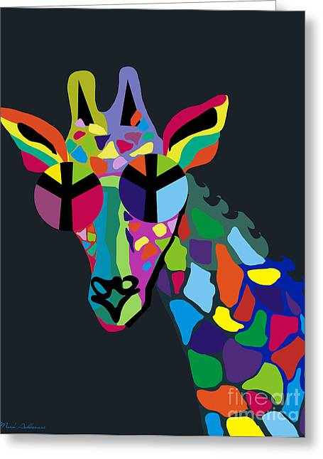 Giraffe Greeting Card by Mark Ashkenazi