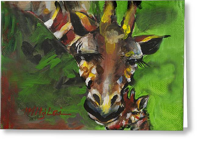Giraffe Mother And Child Greeting Card by Mitzi Lai