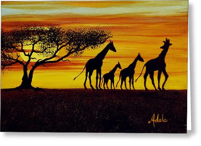 Giraffe Silhouette  Greeting Card by Adele Moscaritolo