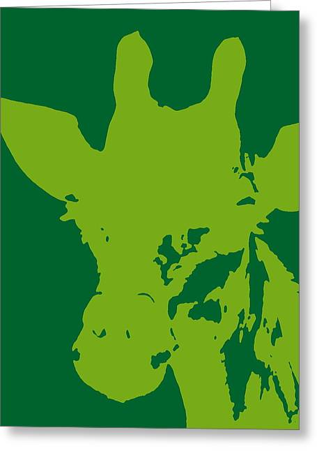 Giraffe Silhouette Lime Green Greeting Card