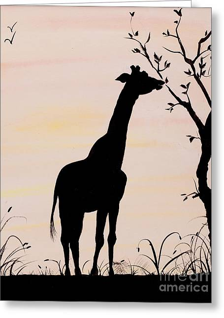 Giraffe Silhouette Painting By Carolyn Bennett Greeting Card