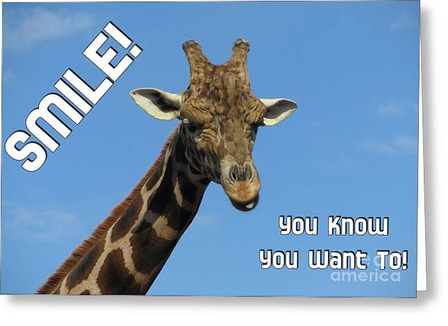 Greeting Card featuring the digital art Giraffe Smile by JH Designs