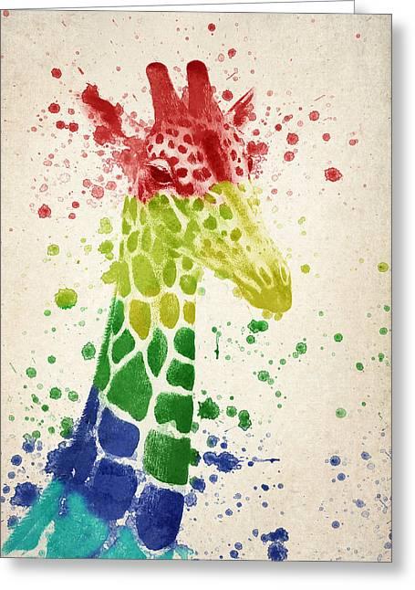 Giraffe Splash Greeting Card by Aged Pixel