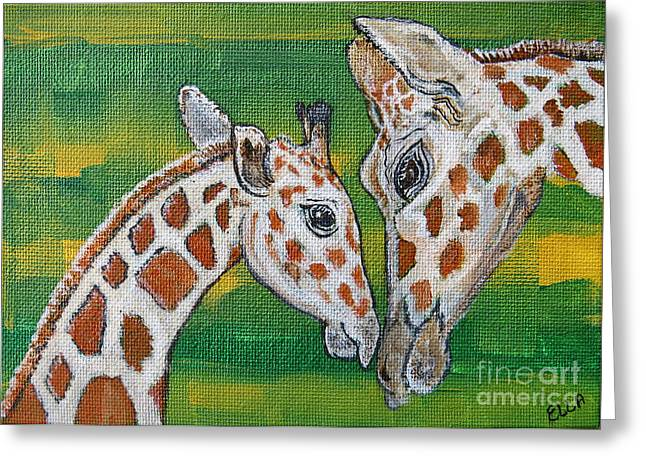 Giraffes Artwork - Learning And Loving Greeting Card