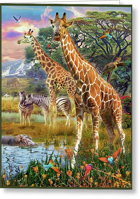 Greeting Card featuring the drawing Giraffes by Jan Patrik Krasny