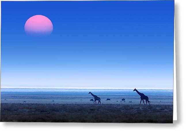 Giraffes On Salt Pans Of Etosha Greeting Card