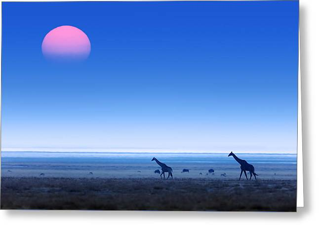 Giraffes On Salt Pans Of Etosha Greeting Card by Johan Swanepoel