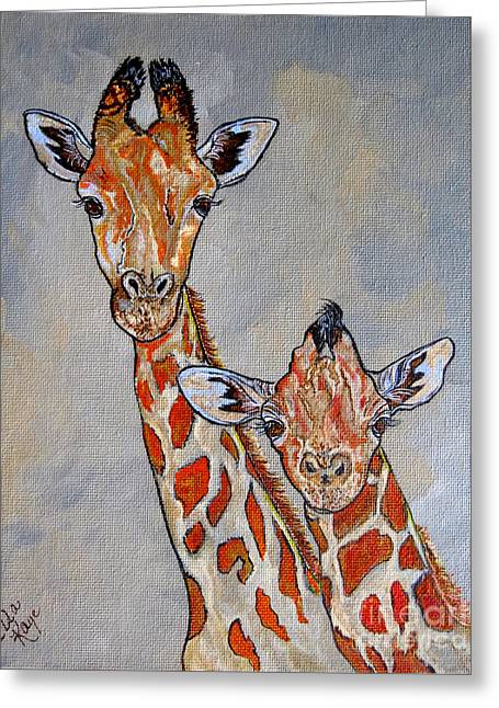 Giraffes - Standing Side By Side Greeting Card