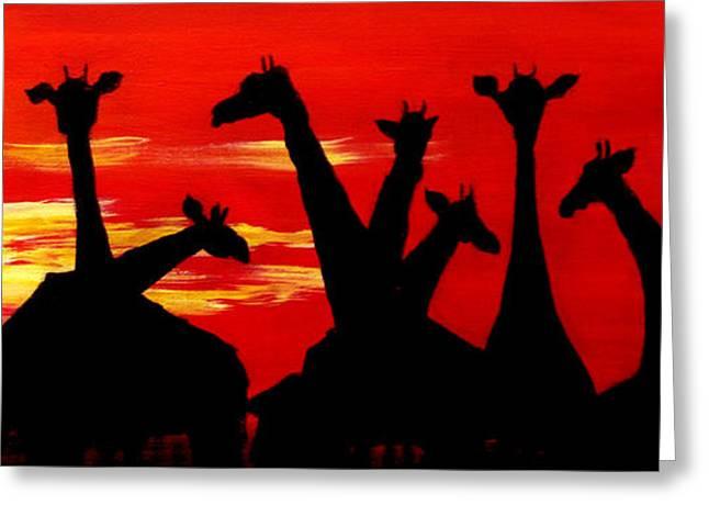 Giraffes Sunset Africa Serengeti Greeting Card